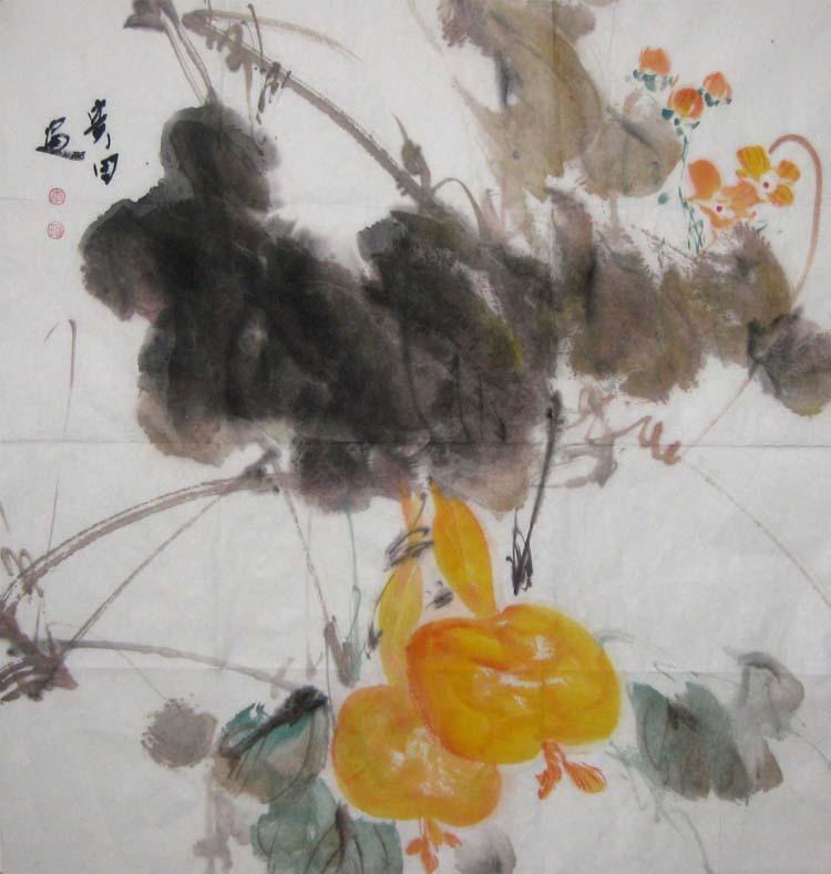 南瓜花鸟工笔画